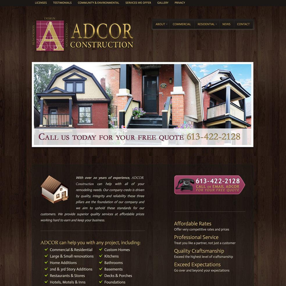 Adcor Construction website