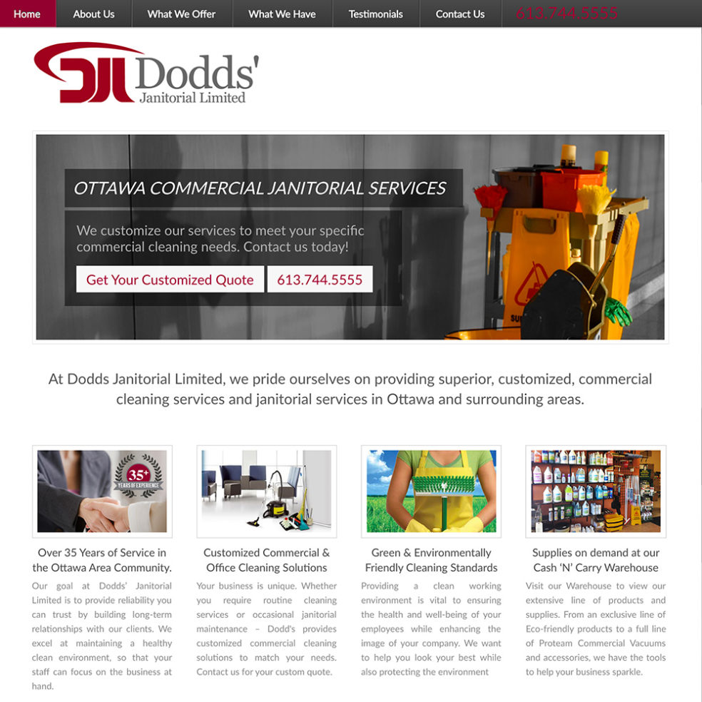 Dodds Janitorial website