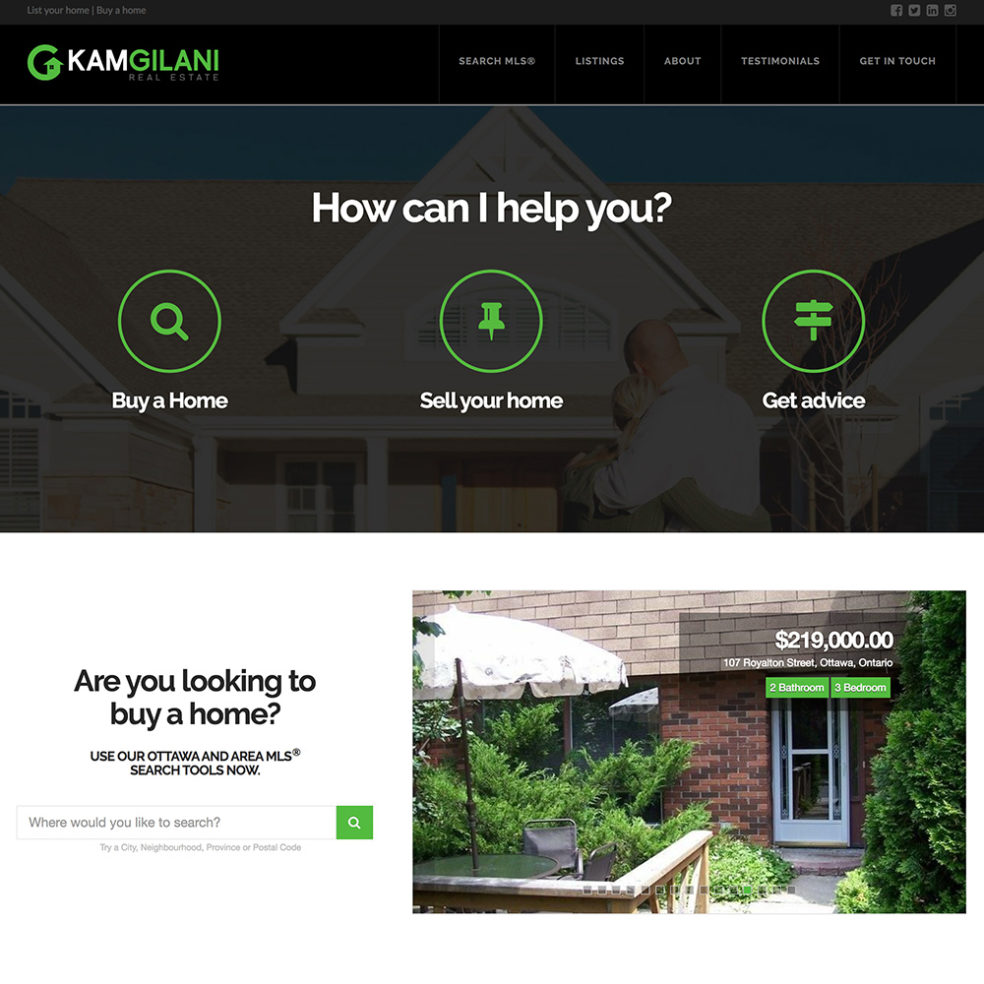 Kam Gilani Real Estate website