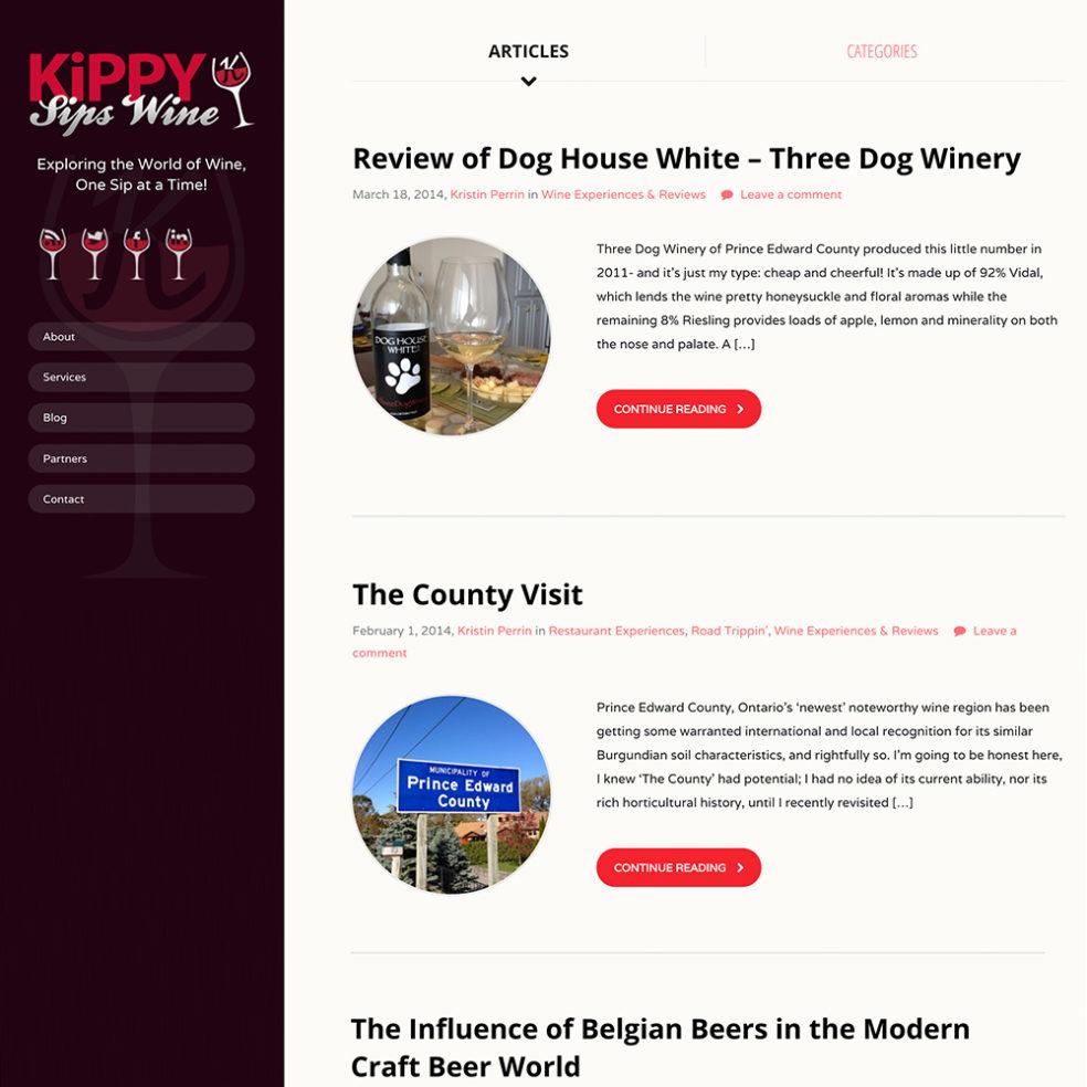 Kippy Sips Wine website